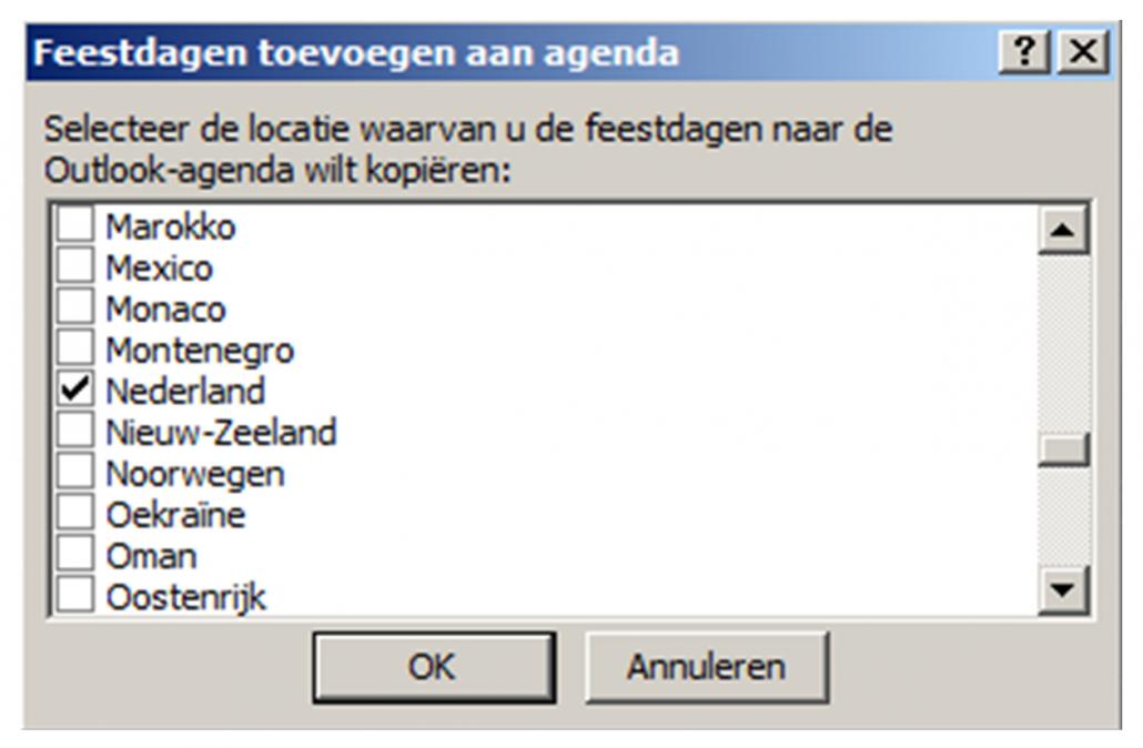 Feestdagen toevoegen in Outlook 2007