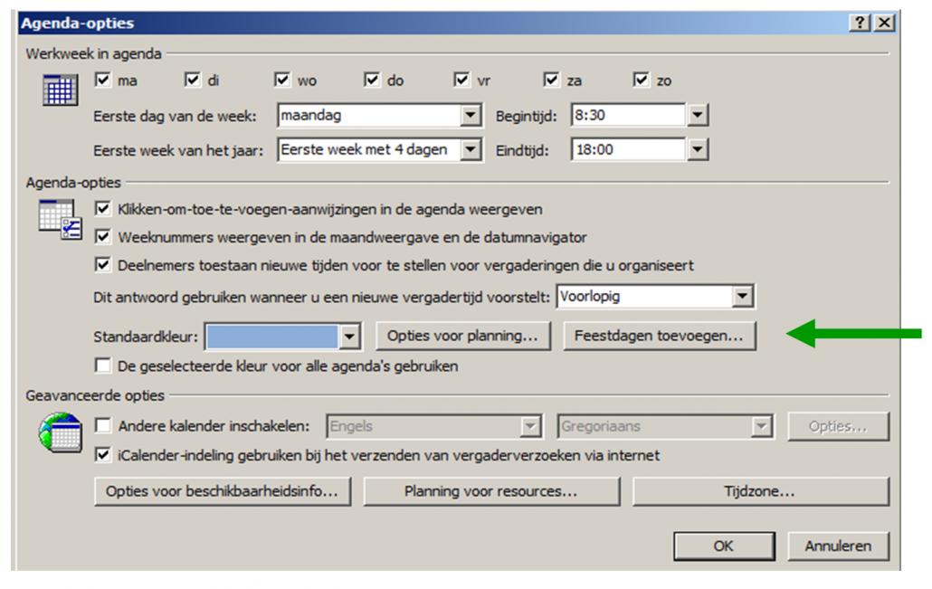 Feestdagen toevoegen in Outlook 2007_Feestdagen toevoegen