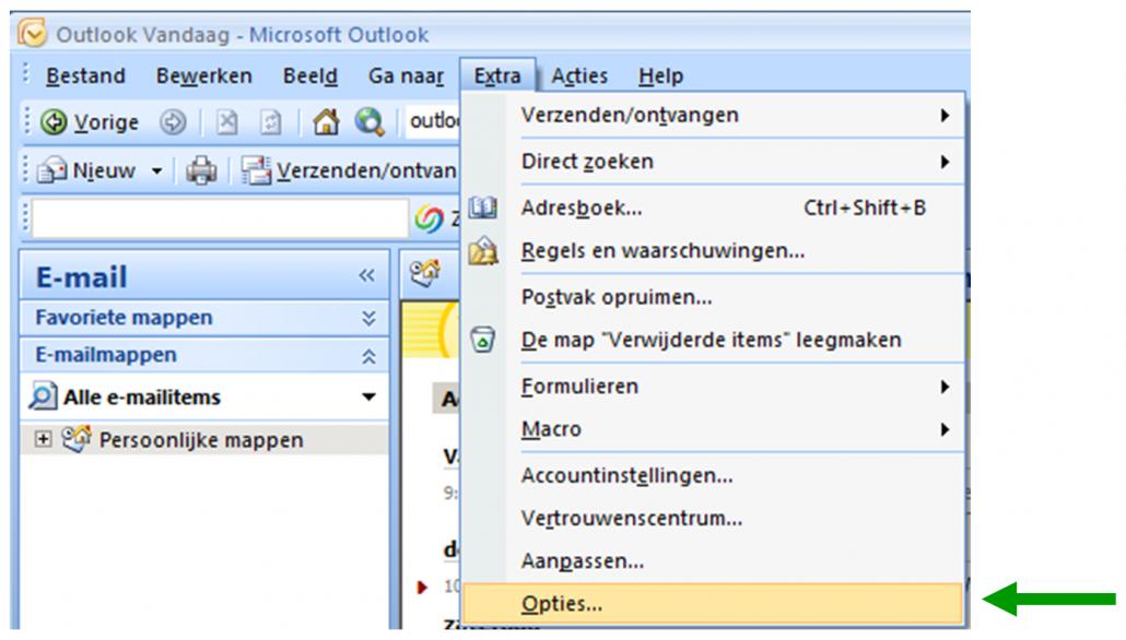 Feestdagen toevoegen in Outlook 2007_Opties
